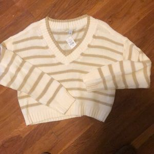 NWT AE striped cropped sweater